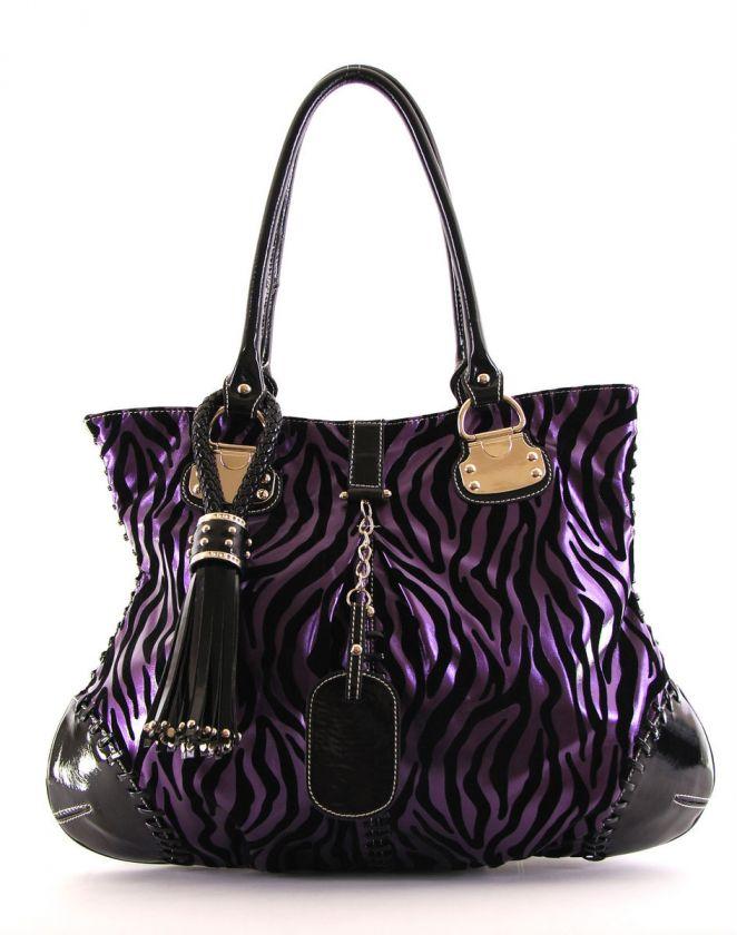 Louise PURPLE Velvet Zebra Design Tasseled Oversized Satchel Bag Purse
