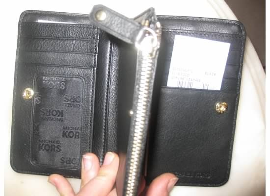 NEW Michael Kors Black Leather Big Valley Bifold Wallet