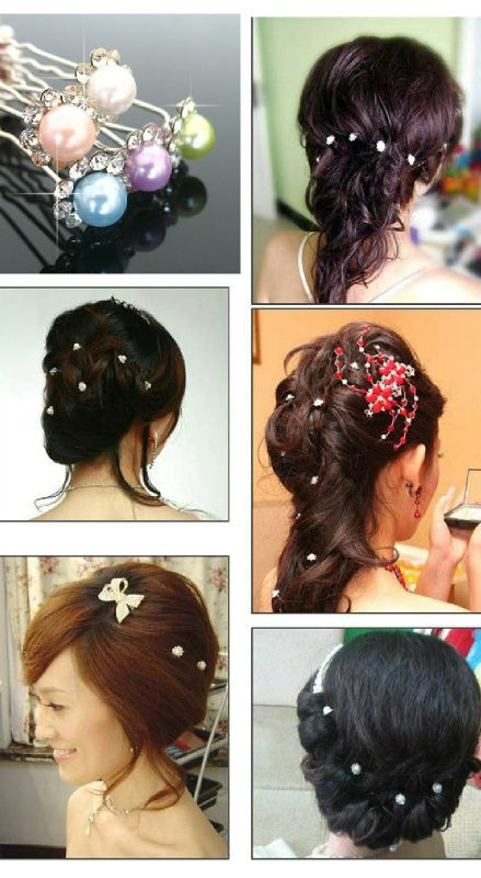 Bridal Flower Pearl Rhinestone Hair pins picks stick