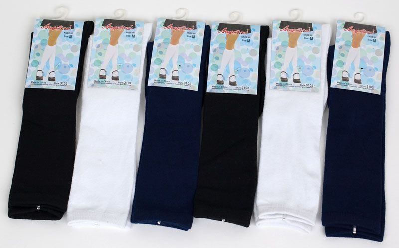 Pairs Girls Knee High School Socks White, Black, Navy Medium ( 4 6