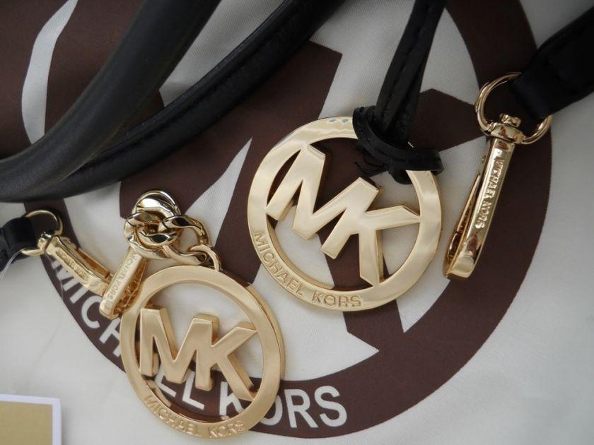 MICHAEL KORS BLACK SIGNATURE SATCHEL WRISTLET WALLET GOLD KEY FOB