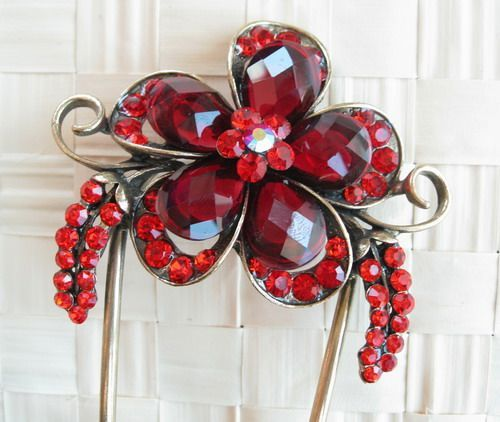 VARY COLORS SWAROVSKI CRYSTAL BIG BRONZE FLOWER HAIR STICK PIN PICK