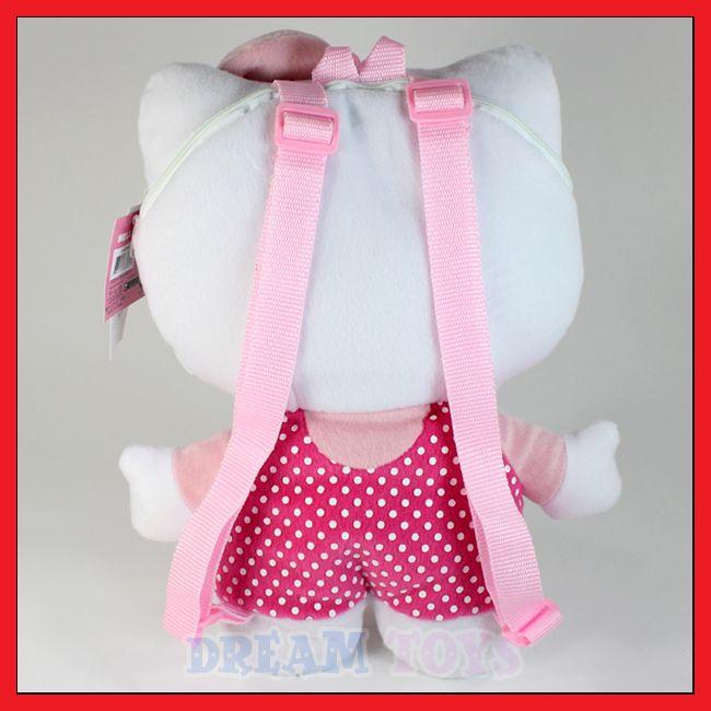 Sanrio Hello Kitty Polka Dot 14 Plush Backpack   Bag Bow