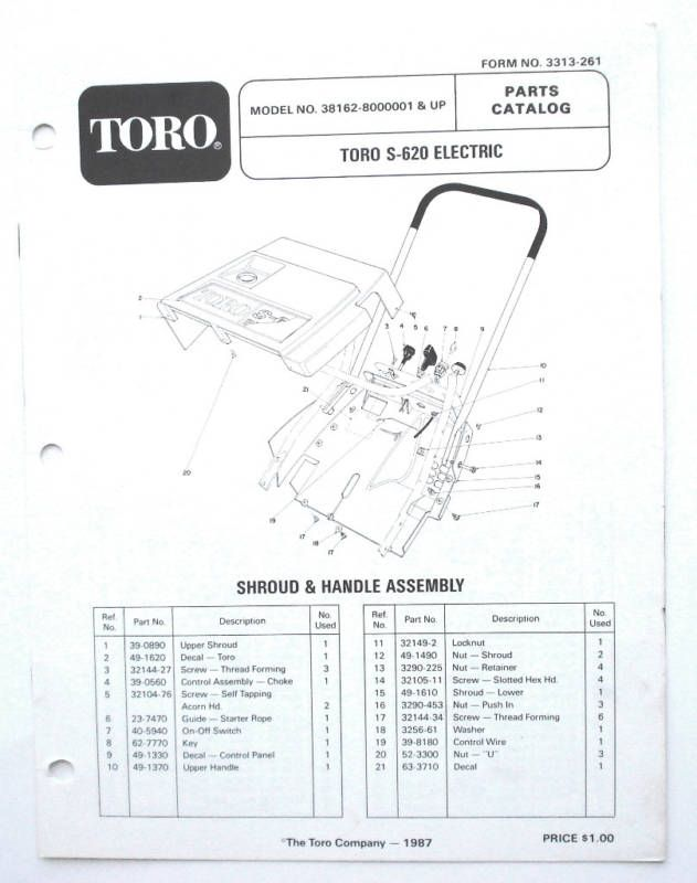 parts for toro s 620 snow thrower  parts  tractor engine