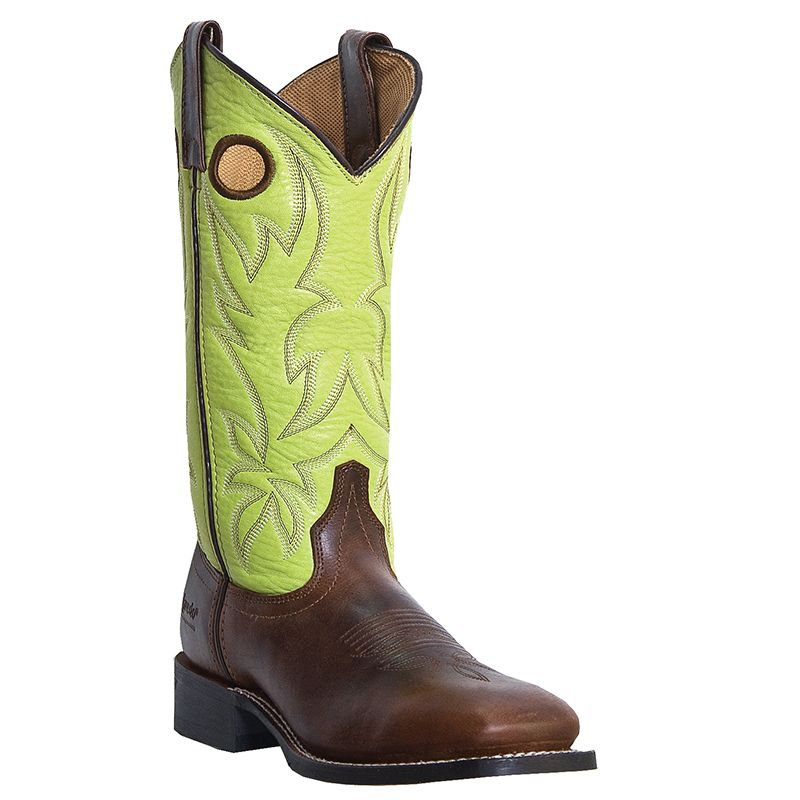 Laredo Womens Western Cowboy Boots Tan Foot Green Top Stockman 5616