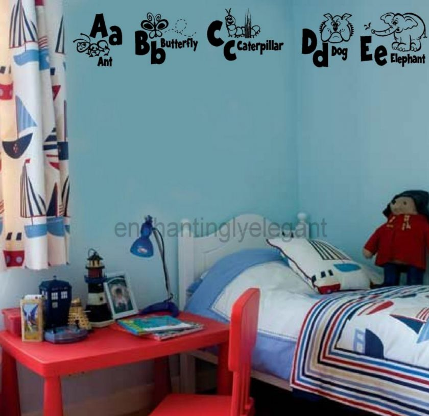 Animal Alphabet Vinyl Decal Wall Stickers Letters Nursery Room School
